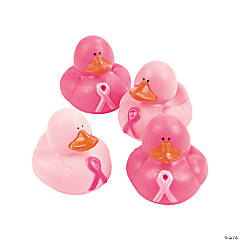 Vinyl Pink Ribbon Rubber Duckies