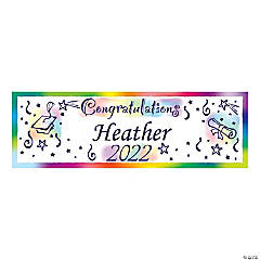 Watercolor Congratulations Graduation Custom Banner - Medium