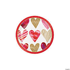 Watercolor Hearts Valentine Dessert Plates