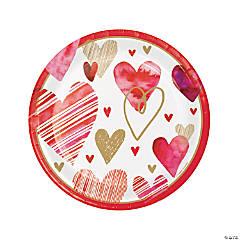 Watercolor Hearts Valentine Dinner Plates