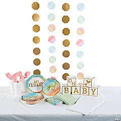 Watercolor Rainbow Baby Shower Tableware Kit for 24 Guests