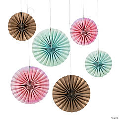 Watercolor Rainbow Hanging Fans