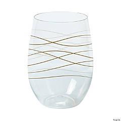 Wavy Stemless Plastic Wine Glasses