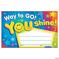 Way to Go! You Shine! Award Certificate - 30 per pack, 12 packs