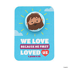 We Love Because He First Loved Us Mini Buttons with Card