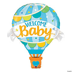 Welcome Baby Blue Mylar Balloon