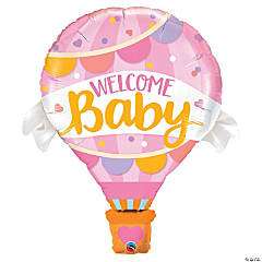 Welcome Baby Pink Mylar Balloon