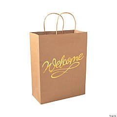 Welcome Kraft Paper Gift Bags with Gold Foil