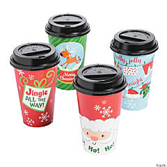 Whimsical Christmas Coffee Cups with Lids