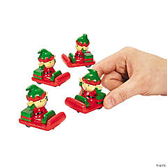 Whimsical Christmas Elf Pull-Back Sleighs PDQ
