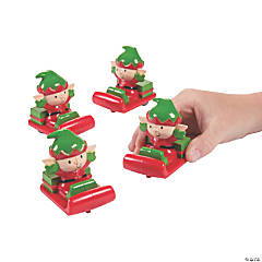 Whimsical Christmas Elf Pull-Back Sleighs