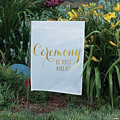 White & Gold Ceremony Yard Flag with Stake
