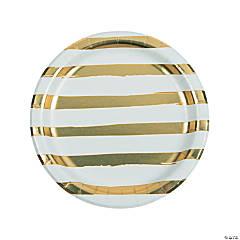 White & Gold Foil Striped Paper Dinner Plates