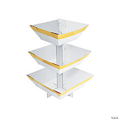 White & Gold Tiered Paper Treat Stand