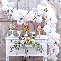 White & Pink Balloon & Eucalyptus Garland Kit - 25 Ft.