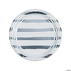 White & Silver Foil Striped Paper Dinner Plates
