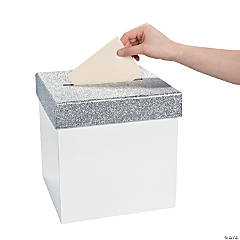 White Card Box with Silver Glitter Lid