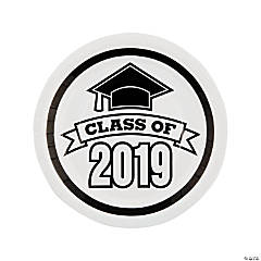 White Class of 2019 Paper Dinner Plates - 25 Ct.