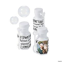 White Custom Photo Hexagon Bubble Bottles