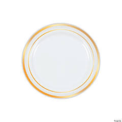 White Dessert Plates with Gold Edging