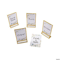 White Floral Wedding Table Signs & Frames Set