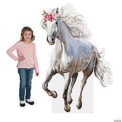 White Horse with Floral Crown Cardboard Stand-Up