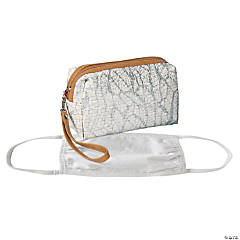 White Makeup Bag with Faux Leather Trim