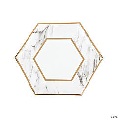 White Marble Dinner Paper Plates with Foil - 8 Ct.