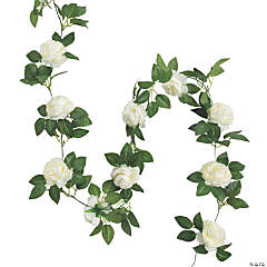 White Peony Faux Floral Garland