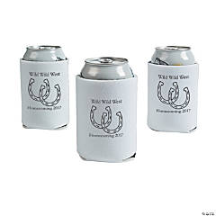 White Personalized Horseshoe Can Coolers