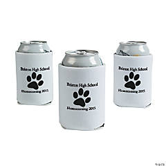White Personalized Paw Print Can Coolers