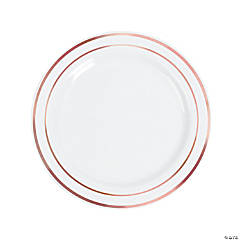 White Plastic Dinner Plates with Rose Gold Trim - 25 Ct.