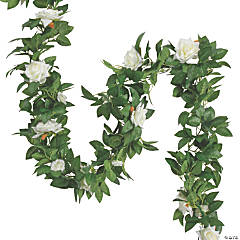 White Rose Faux Floral Garland