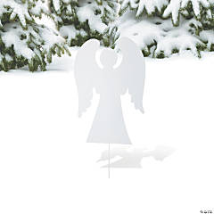 White Silhouette Angel Yard Sign
