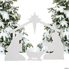 White Silhouette Nativity Yard Décor