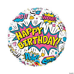 White Superhero Birthday Mylar Balloon