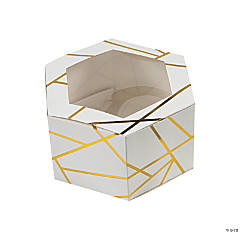 White with Gold Foil Hexagon Favor Boxes with Window