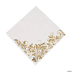 White with Gold Foil Luncheon Napkins