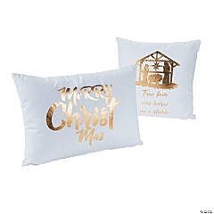 White with Gold Nativity Pillow Set