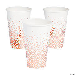 White with Rose Gold Foil Dots Cups