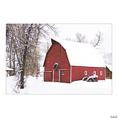 Winter Red Barn Backdrop