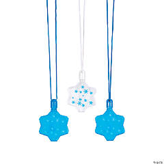 Winter Snowflake Bubble Bottle Necklaces