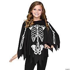 Women's & Girl's Skeleton Poncho Costume