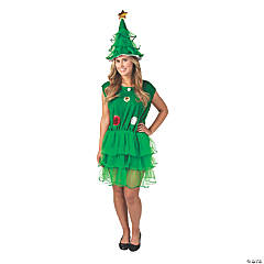 Women's Christmas Tree Dress and Hat Costume