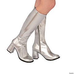 Women's Silver Go-Go Boots - Medium