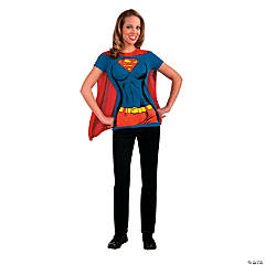 Women's Supergirl™ Shirt Costume with Cape - Extra Large