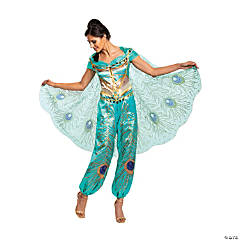 Women's Deluxe Aladdin™ Live Action Teal Jasmine Costume - Medium