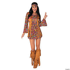 Women's Peace & Love Hippie Costume - Large
