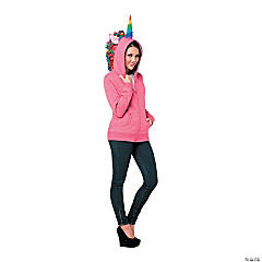 Women's Pink Unicorn Hoodie Costume - Extra Large