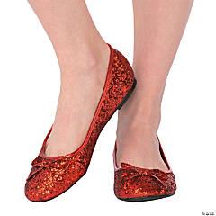 Women's Red Glitter Ballet Shoes - Medium